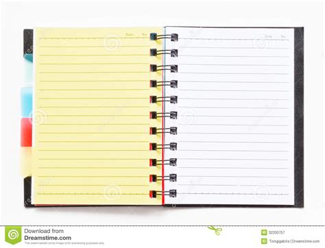 ring binder notebook with yellow bookmark royalty free