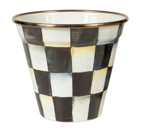 black and white planters courtly check enamel pot modern outdoor pots and planters by mackenzie childs