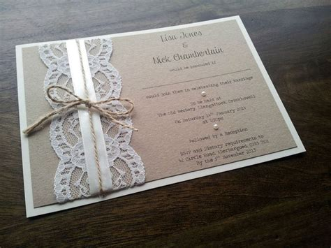 Handmade Lace Wedding Invitations - sle personalised handmade vintage chic lace wedding