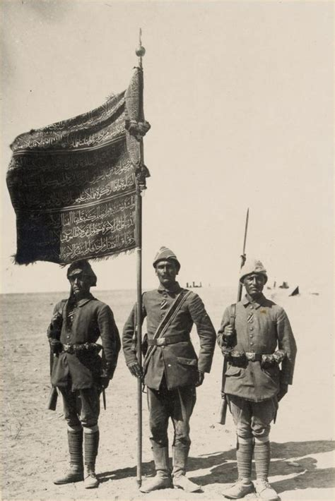 ottomans in ww1 ottoman soldiers with a regimental standard awarded for