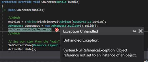 xamarin android hide layout error when trying to display ads android c xamarin