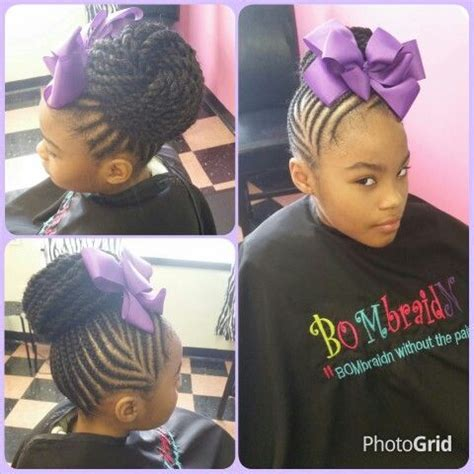 kids hairstyles braided into a bun big bow and braids black women natural hairstyles