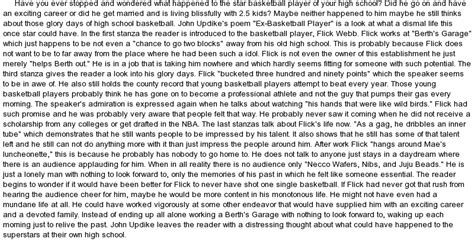 Essay On Basketball by Updike S Poem Quot Ex Basketball Player Quot At Essaypedia