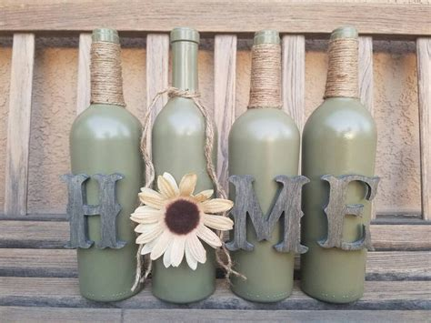rustic home decor four wine bottle set home decor rustic home wine bottle set home decor rustic decor table decor