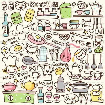 wall mural cute doodle kitchen stuff fun • pixersize.com