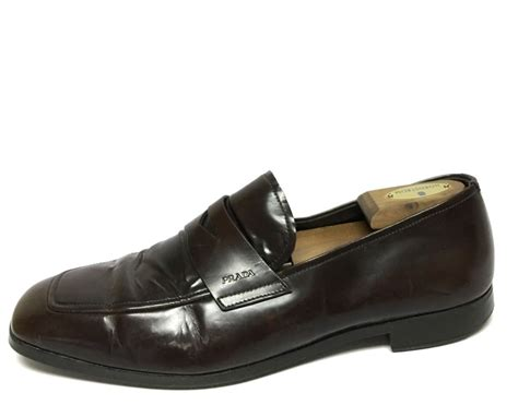 prada mens loafer s prada brown leather dress loafer shoes size 10 ebay