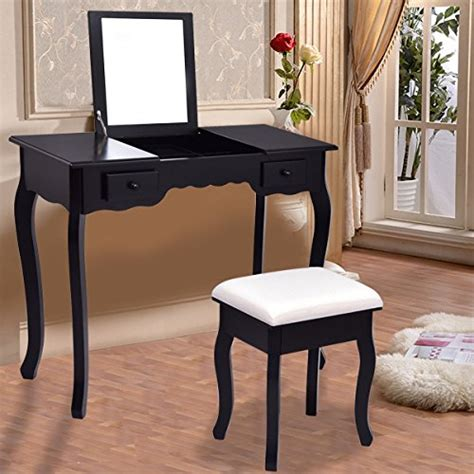 Flip Top Vanity Table Giantex Vanity Set Dressing Table With Flip Top Mirror Cushioned Stool Bedroom Furniture Table