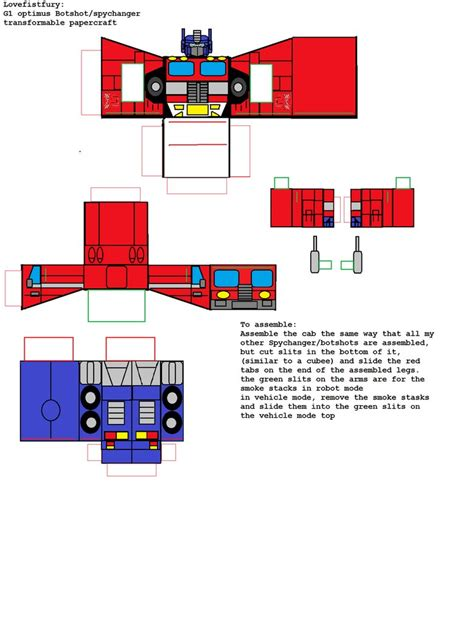 Papercraft Transformers Optimus Prime - transformable papercraft botshots g1 optimus prime by