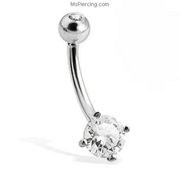 14k solid white gold belly button ring with
