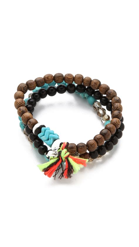 blue beaded bracelet chan luu beaded bracelet set in blue turquoise lyst