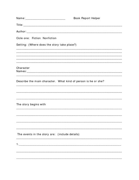 one page book report template free printable book report template middle school book