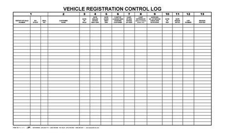 Vehicle Registration Control Log Book Bpi Dealer Supplies Deal Registration Template