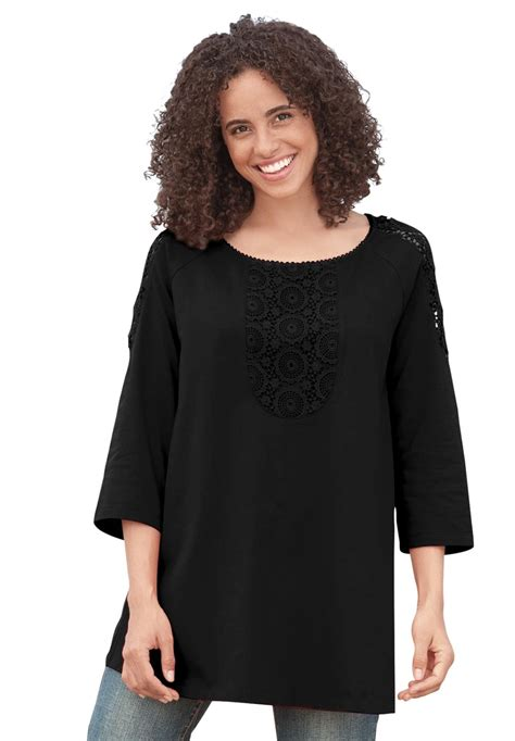A Line Tunik plus size tunic top with a line crochet trim 3 4 sleeves plus size 3 4 sleeve within