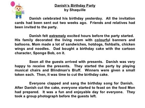 My Best Birthday Essay by Compositions A Birthday Check Out The Adjectives