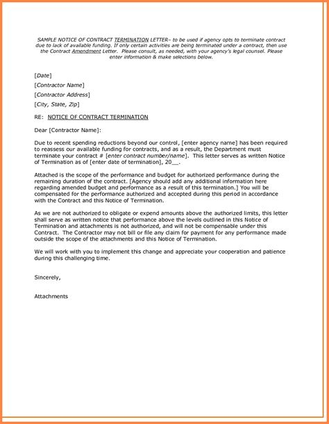 Contract Notice Letter 10 Notice Of Termination Of Contract Letter Template Insurance Letter