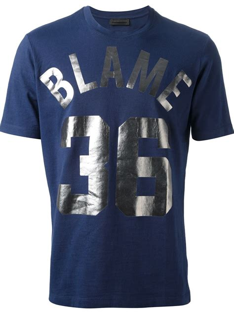 Metallic Detail Shirt Blue diesel black gold metallic print t shirt in blue for