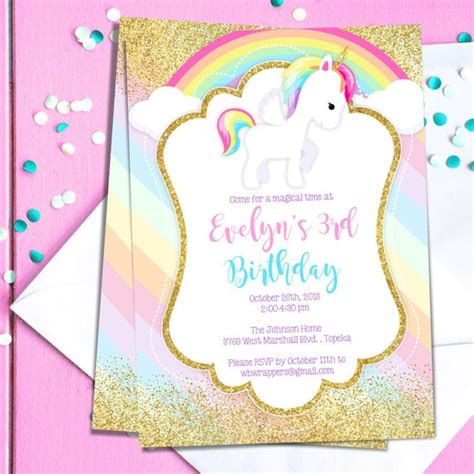 Unicorn Birthday Party Invitation Template Pastel Rainbow Etsy Unicorn Birthday Invitations Template