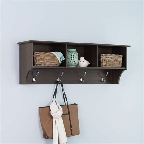 Shelf Coat Hooks by Prepac Fremont Espresso Entryway Cubbie Shelf Coat Rack