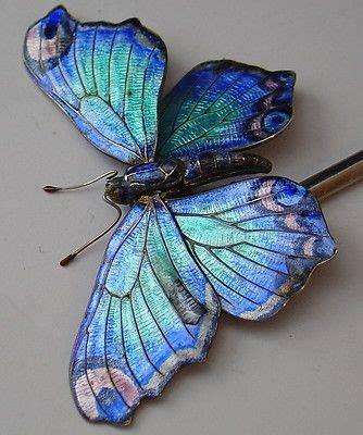 Set Of 2 Butterfly Hair Stick antique nouveau silver enamel blue articulated