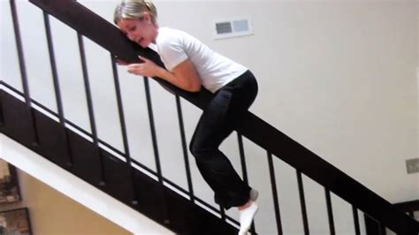 sliding down banister railing slide youtube