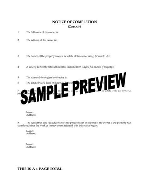Oregon Notice Of Completion Legal Forms And Business Templates Megadox Com Notice Of Completion Template