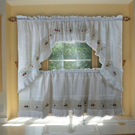 cheap kitchen curtains window treatments strawberry embroidery curtains valance swag and tier set tulle sheer curtains for kitchen