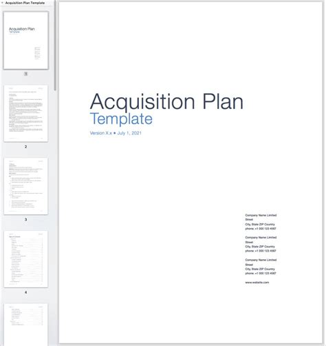acquisition template acquisition plan template plan template