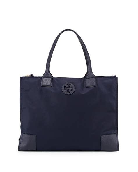 burch ella packable tote bag in blue navy