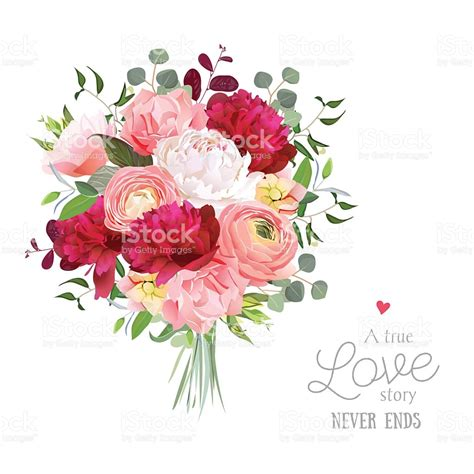 Wedding Bouquet Vector by Luxury Autumn Vector Bouquet With Ranunculus Peony