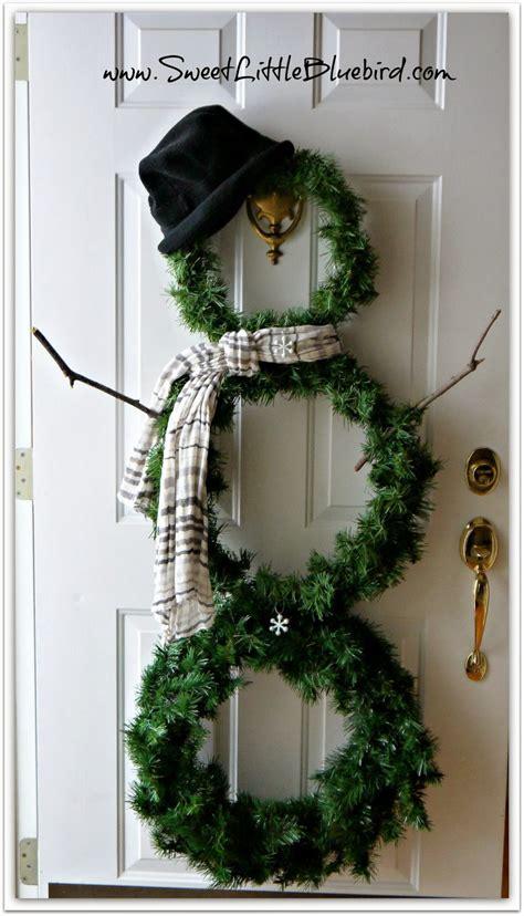 diy snowman wreath sweet  bluebird