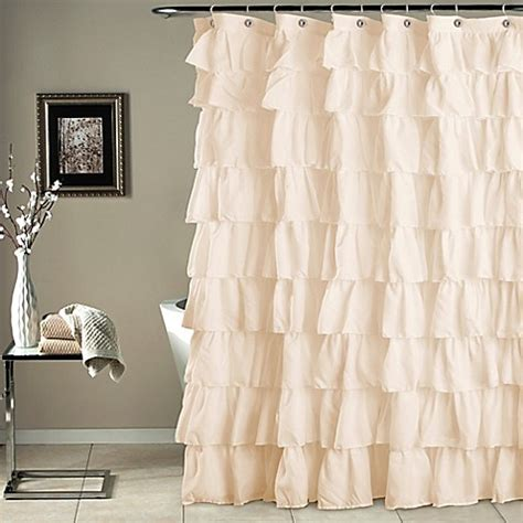 Ruffled Shower Curtains Ruffle Shower Curtain Bed Bath Beyond