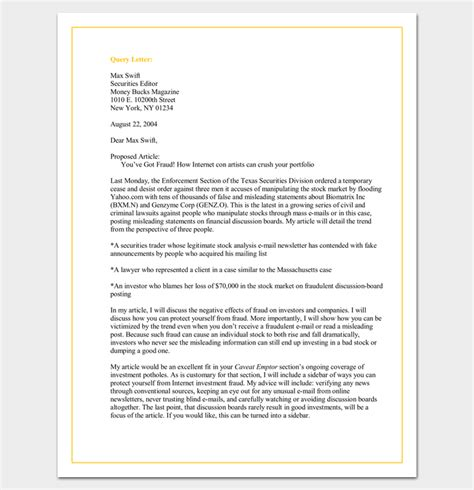 query letter template query letter template 7 formats sles exles