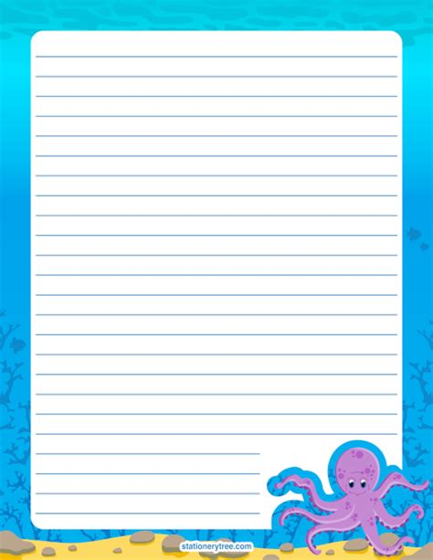 free printable octopus stationery printable octopus stationery