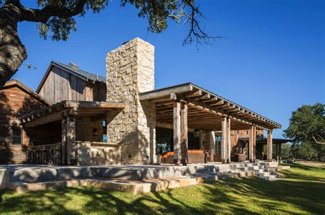 cornerstone architects modern rustic barn style retreat in hill country