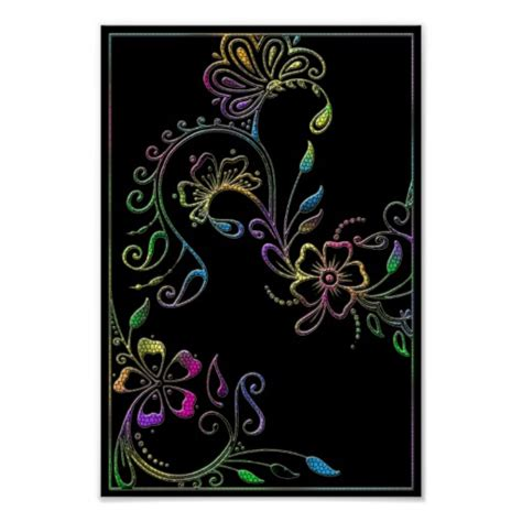 henna design posters henna floral design customized poster zazzle