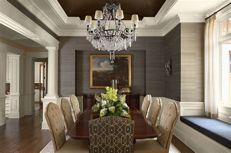 grey wallpaper houzz dining room