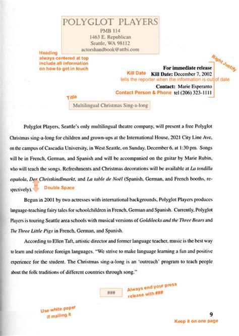 format email press release format and exle of a press release