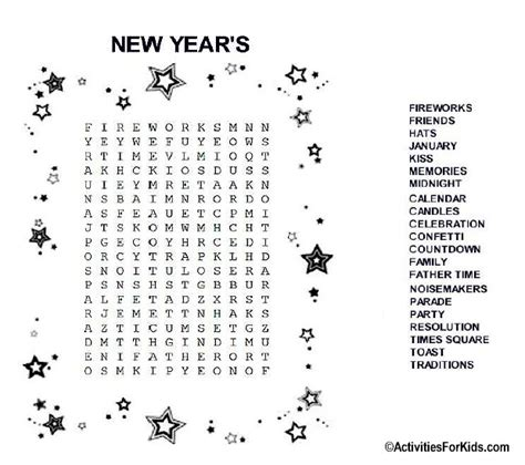 new year s eve word search printable for kids