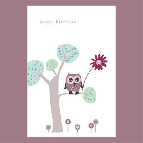 Owl Birthday Card Folksy Buy Quot Little Owl Birthday Card Quot By Mollymoo