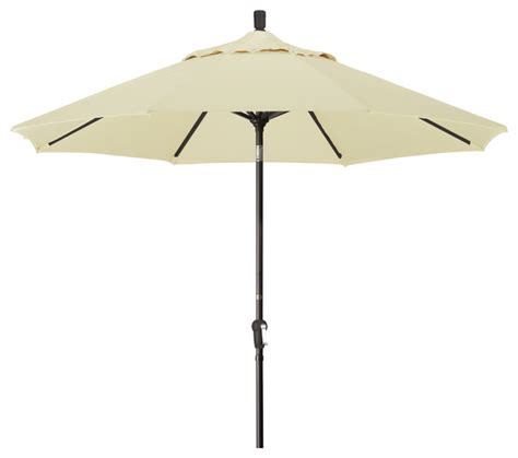 9 Aluminum Market Umbrella Auto Tilt Bronze Sunbrella Canvas Patio Umbrella