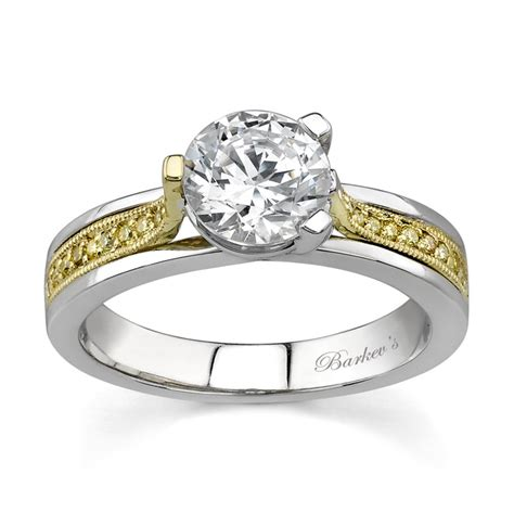 barkev s two tone engagement ring with yellow diamonds