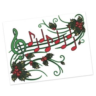 holly music staff christmas cards at the music stand