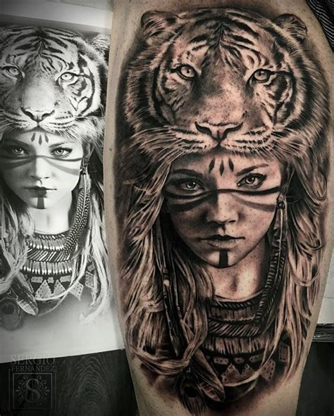 animal headdress tattoo this tattoo is awesome i love the tiger headdress and the