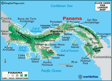 physical map of panama panama map geography of panama map of panama