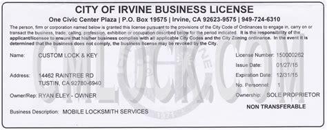 Garden Grove Business License Custom Lock And Key Irvine Locksmith Licenses