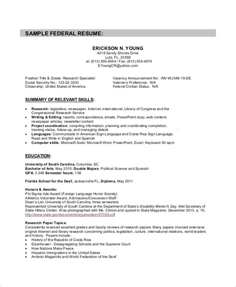8 Sle Federal Resumes Sle Templates Federal Government Resume Template