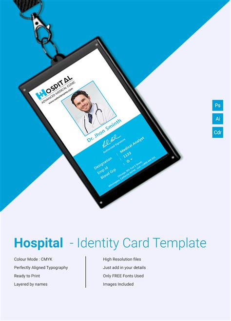office id card template free amazing hospital identity card template free