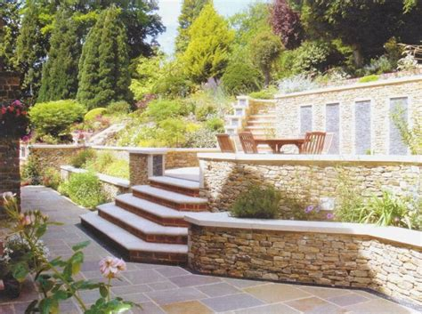 Small Terrace Garden Design Ideas Fascinating Small Terraced Garden Ideas With Exposed Garden Edging Plus Brick Step