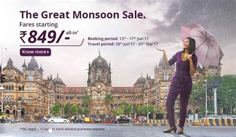 vistara airlines  ticket  rs   monsoon sale