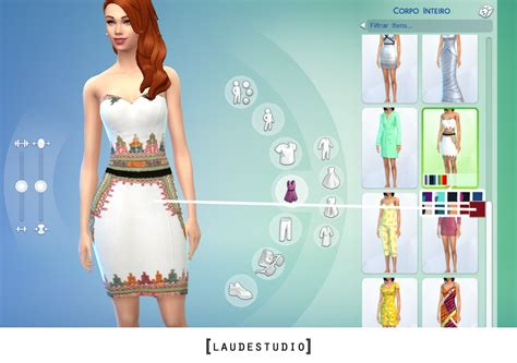design fashion in a fashion studio sims white dress with colorful embroidery sims 4 custom content